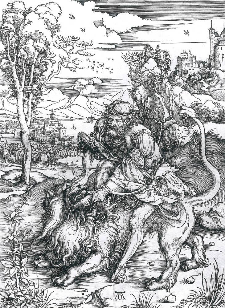 Museo della Permanente DÜRER L'OPERA INCISA DALLA COLLEZIONE DI NOVARA – Albrecht Durer, Sansone uccide il leone, c. 1496, silografia, mm 386 x 281